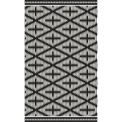 """Beaumont - Tapis vinyle - motif noir et blanc - 19.5''x32"""""""