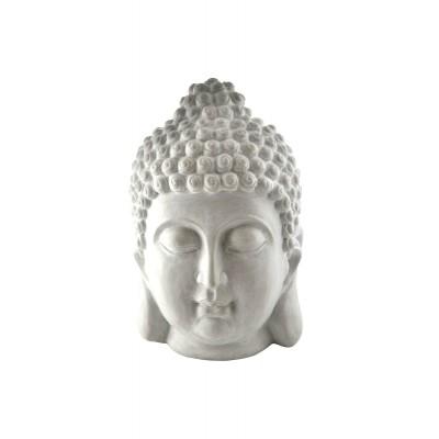Tête de bouddha blanche en résine