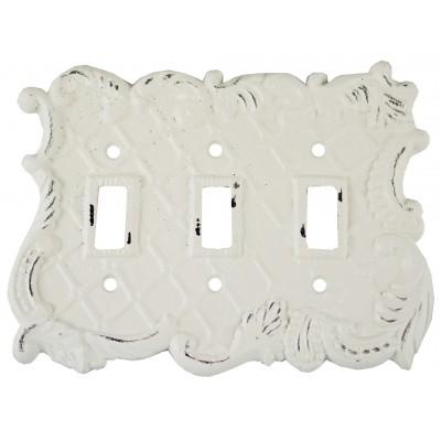 Mimosa - Couvre interrupteur - Triple blanc antique