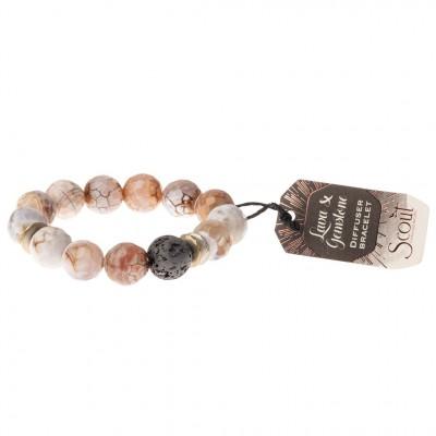 Scout -  Bracelet diffuseur avec pierre de lave - agate des sables